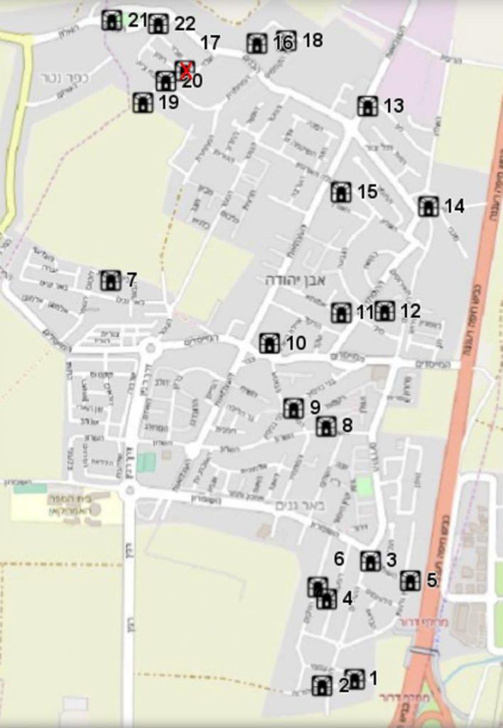 מפת מקלטים ציבוריים באבן יהודה כפי שמופיעה בטבלה הנמצאת בסמוך